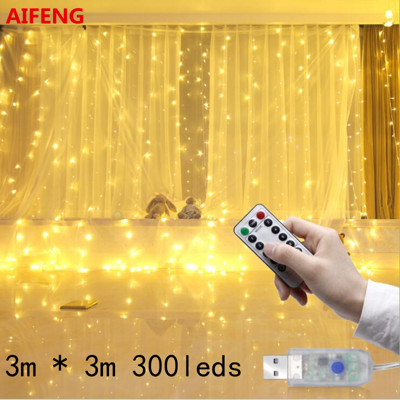 AIFENG 3Mx3M 300 LED USB Powered Led Curtain Light Copper Wire LED String Curtain Lights Wedding Lights With RF Remote
