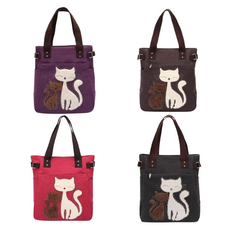 Canvas Women Shoulder Handbags Large Capacity Totes Cute Cat Shopping Bags