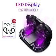 UV di Sterilizzazione Senza Fili di Bluetooth 5.0 Auricolare Display A LED Di Potenza Auricolari Typc C Caso di Ricarica Per Cuffie