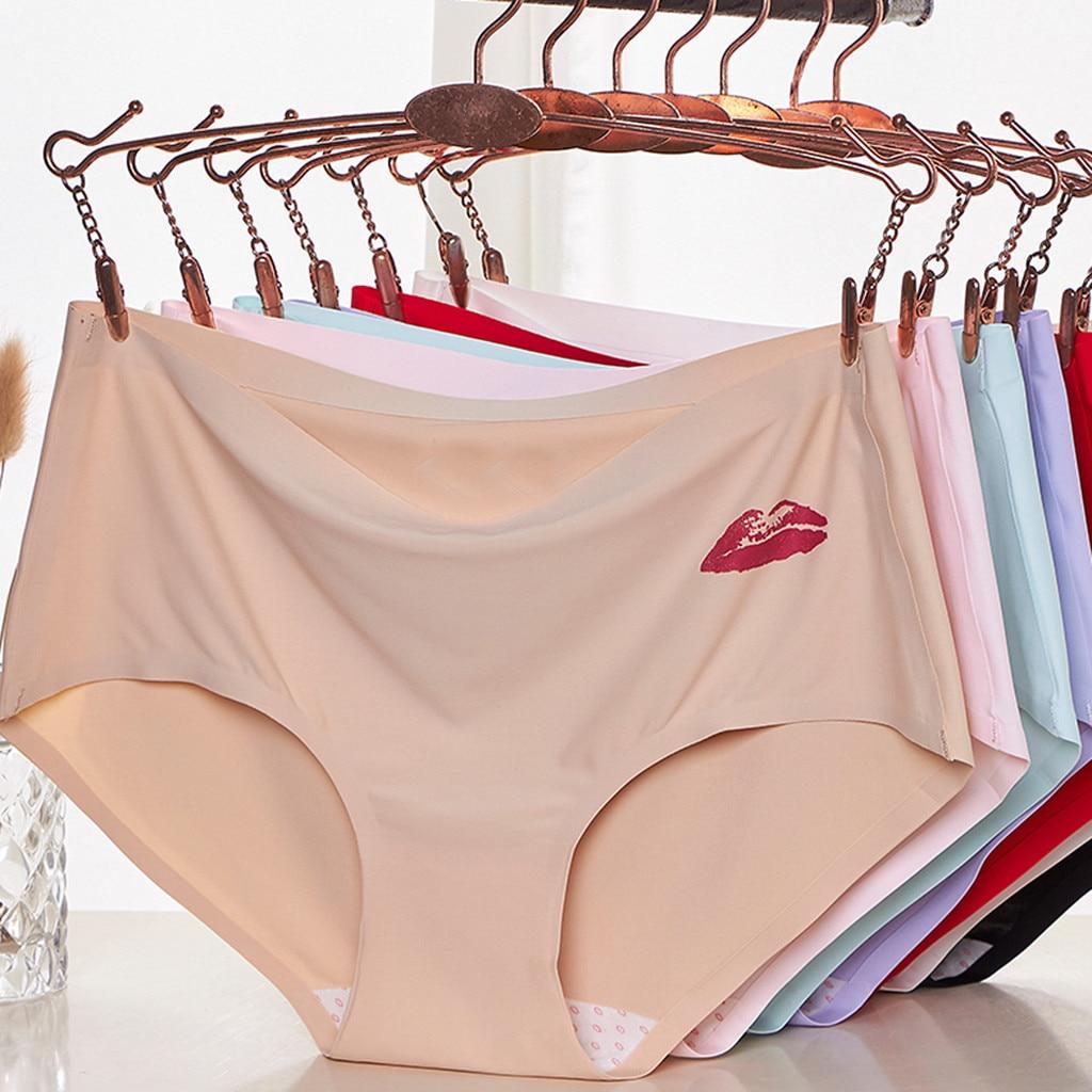 Women Briefs Solid Color Soft Cotton Print Stitching Briefs Briefs Women's Panties Comfort Underwear Skin-friendly Briefs Panty