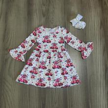Детская одежда для маленьких девочек Хлопковое платье из молочного шелка с длинными рукавами и оборками на весну-зиму Эксклюзивное Платье До Колена с бантом