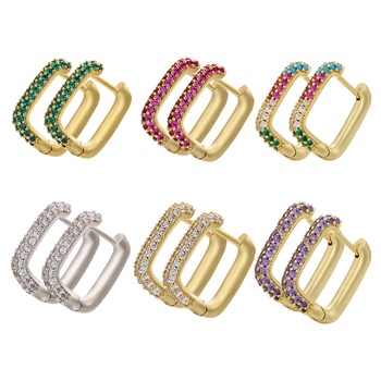 ZHUKOU NEW Hoop earrings gold/silver color small hoop earrings crystal women rainbow earrings Fashion jewelry wholesale VE144 1