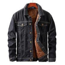 Winter Männer Jacke мужская куртка schwarz Denim Mantel Warme Fleece Mode Herren Jean Jacken chaquetas hombre hommes veste retro