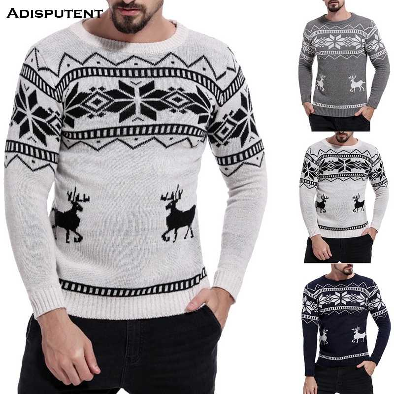 Adisputent 2019 Mens Casual Slim Fit Knitted Pullover Sweaters Christmas Pattern Male Spring Autumn O Neck Print Tops Long Slee