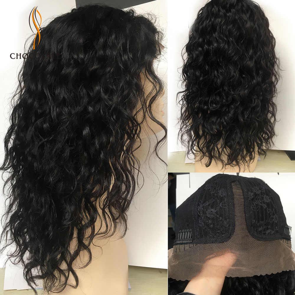 Koronki przodu peruki z ludzkich włosów fala wody Puruvian peruki dla kobiet Cosplay koronki część peruka kręcone ludzkie włosy peruki peruka blond krotka