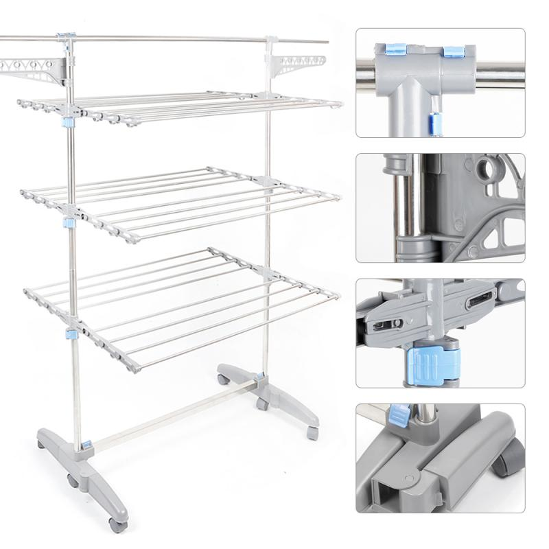 3 Layer Folding Clothes Hanger Clothes Dryer Very Large Clothes Horse Floor Standing Coat Rack Drying Racks HWC