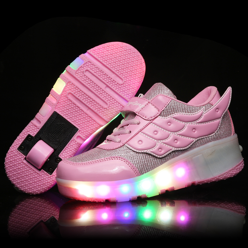 Kids Glowing Sneakers Sneakers with wheels Led Light up Roller Skates Sport Luminous Lighted Shoes for Kids Boys Pink Black|Sneakers| |  - title=