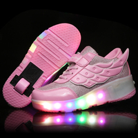 Kids Glowing Sneakers Sneakers with wheels Led Light up Roller Skates Sport Luminous Lighted Shoes for Kids Boys Pink Black|Sneakers| |  -