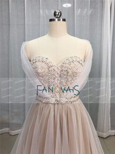 Image 4 - Elegant Wedding Dresses 2019 Off the Shoulder Champagne Wedding Gown 2019 Crystal Beaded Top Tulle Vetsido de Novia WN10