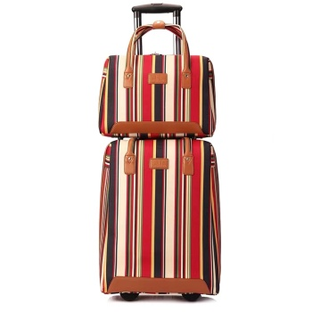 20 inch oxford Rolling Luggage set Spinner wheels Women Brand Suitcase tripe Carry On Travel luggage Bags Women trolley bag set