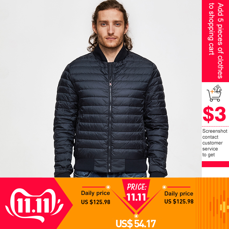TIGER FORCE Man Jacket Bio-based Cotton Padded Coat Ultralight Fashion Men's Spring Outerwear Casual Men Puffy Bomber Jacket