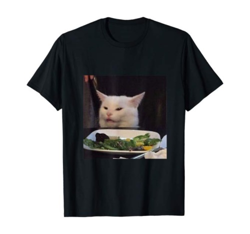Dinner Table Cat Meme Funny Internet Yelling Confused Gift Black Men T-Shirt NEW