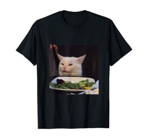Dinner Table Cat Meme Funny Internet Yelling Confused Gift Black Men T-Shirt NEW
