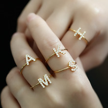 Letter Rings Initial-Ring Wedding-Jewelry Adjustable Girls Women Gift Zircon Copper Party