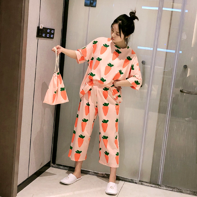 New Fashionable Loose Pajamas For Women Summer Spring 2 Pcs Casual Comfortable Sleepwear For Girl Good Quality Pyjamas