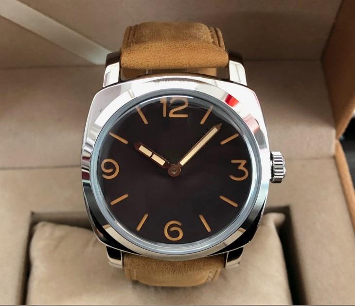 47 มม.GEERVO Light สีกาแฟหรือสีดำ dial เอเชีย 6497 17 jewels กลไกการเคลื่อนไหวนาฬิกาผู้ชาย gr252 8-ใน นาฬิกาข้อมือกลไก จาก นาฬิกาข้อมือ บน   3