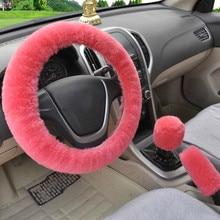 Universal volante de pelúcia carro volante cobre inverno falso pele freio de mão & engrenagem capa conjunto acessórios interiores do carro