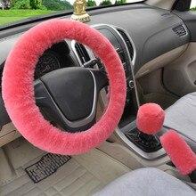 Uniwersalny kierownicy pluszowe poduszki do samochodu obudowa na przyciski na kierownicy zima Faux fur hamulec ręczny i pokrywa przekładni zestaw akcesoria do wnętrza samochodu