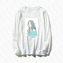 Anime Girl In Flowers T Shirt Women Vintage Korean Style Kawaii Punk Harajuku Cotton Plus Size Long Sleeve Clothes Streetwear(China)