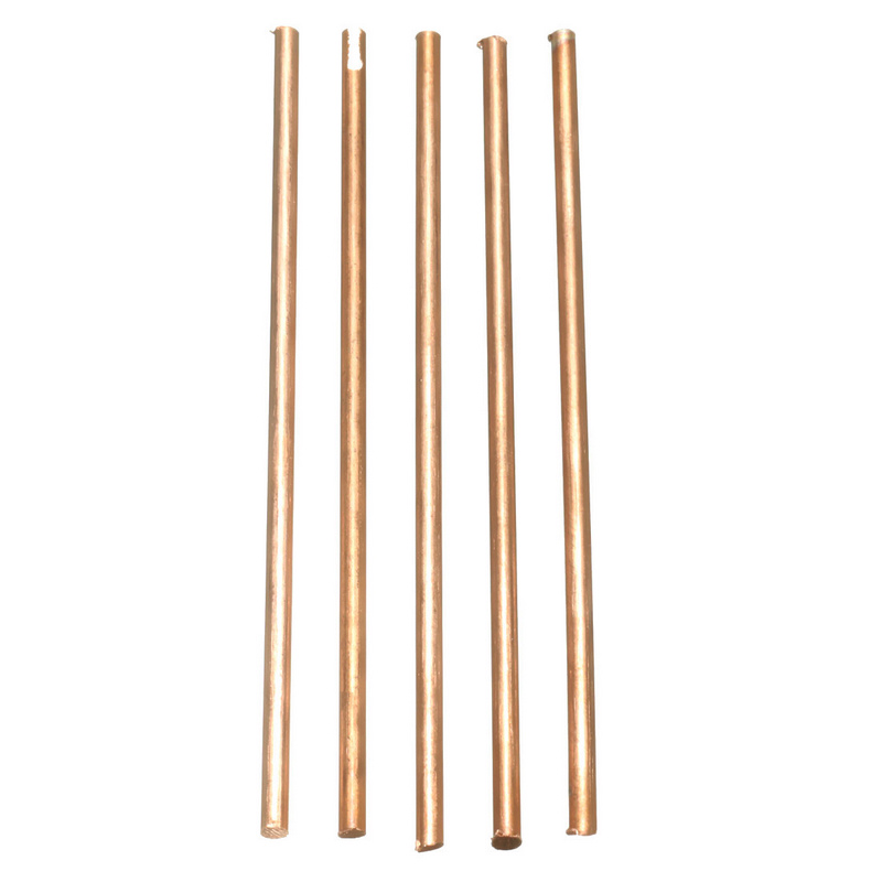5Pcs 100mm Length Metal Electrode Soldering Rod 3mm Diameter Solid Round Red Copper Bar Welding Brazing Wire