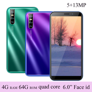 Global F2 celulares Quad Core 4G RAM 64G ROM 5MP+13MP 6.0 inch Cellphone Smartphones Face ID unlocked Android Mobile Phones IPS