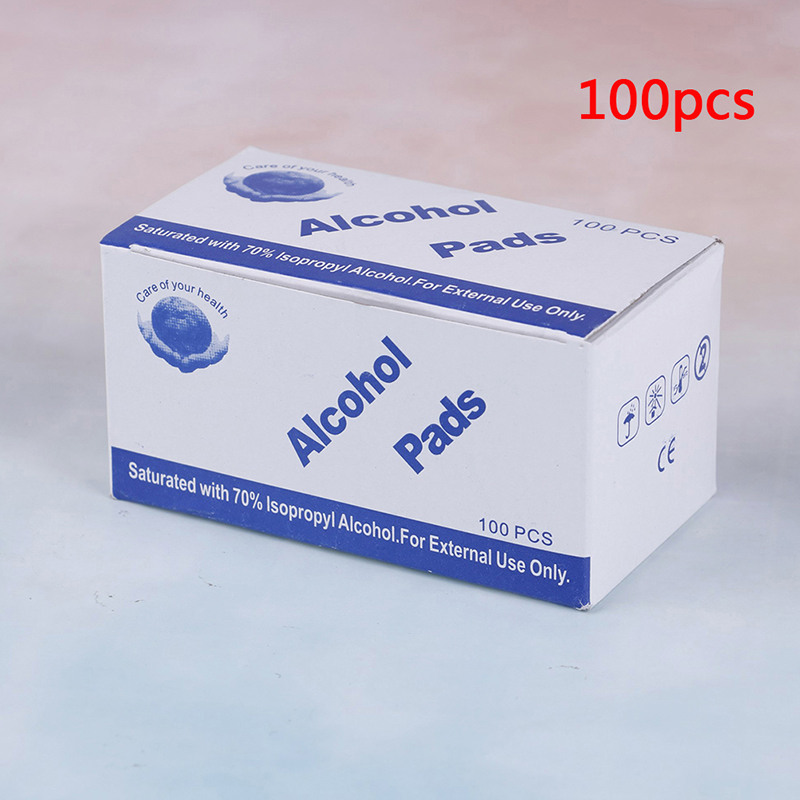 100pcs/lot Portable 100pcs/Box Alcohol Swabs Pads Wipes Antiseptic Cleanser Cleaning Sterilization First Aid Home Makeup New