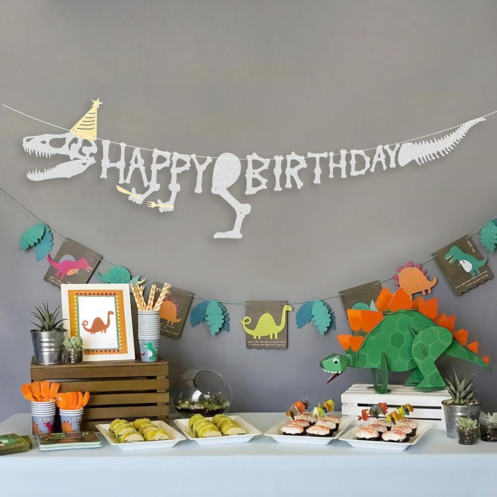 Glitter Silver Dinosaur Theme Happy Birthday Banner Dino Party Jurassic Prehistoric Skeleton