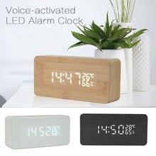 Wood Bamboo LED Temperature Alarm Clock Reloj Voice Control Digital Calendar