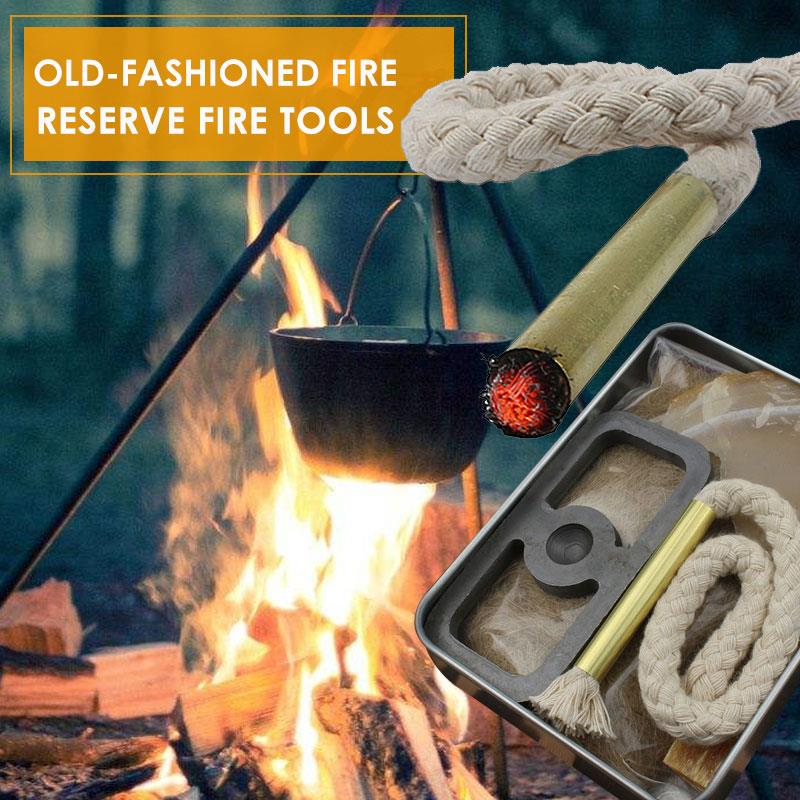 Durable Flint Stone Survival Tools Kit Silver Flame Travel Camping Hike Primitive Fire Starter Tool Outdoor 7pcs Bow Drill