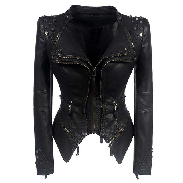 Sexy Leather Biker Jacket 1