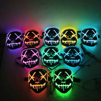 Halloween Decoration LED Mask Light Up Party Neon Mask Cosplay Horror V for Vendetta Halloween Party Decor Props Accessories 2020 hot sales fashion led mask luminous glowing halloween party mask neon el mask halloween cosplay mask mascara horror maska