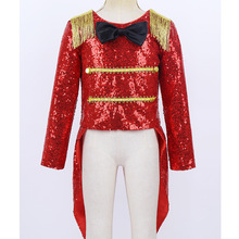 Ringmaster Costume Bowtie Cosplay Party Circus Kids Halloween Girls Chictry Swallow-Tailed-Coat