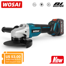 WOSAI 20V 125mm 2 Speed Brushless Electric Angle Grinder Grinding Machine Cordless Power Tool 4.0AH Li-ion Battery