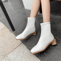 Boots Women PU Leather Shoes For Winter Boots Shoes Woman Casual Spring Female Ankle Boots
