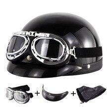 цены Man's Women's Retro Moto Helmet Motorcycle Helmet Outdoor Riding Half Motorbike Bicycle Helmet With Glasses