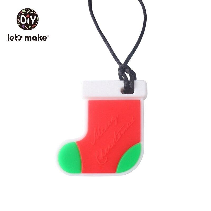 Купить с кэшбэком Let's Make Baby Teether Rodent Christmas Gifts Star Socks Deer Elk Gingerbread Man Tree Snowflake DIY BPA Free Silicone Teething