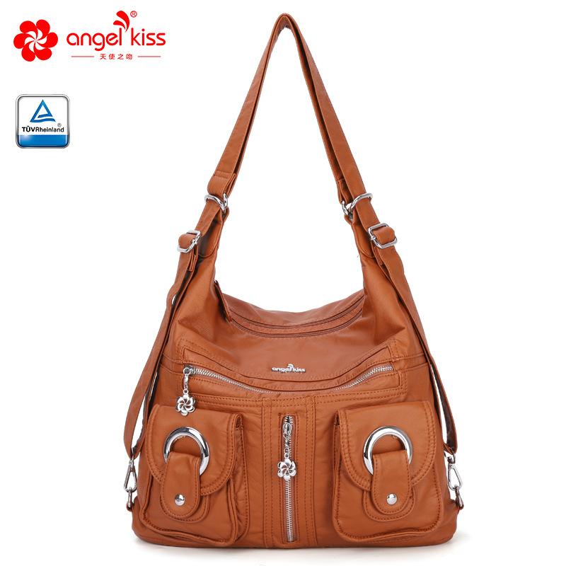 Hot Selling Women Soft Washed PU Leather Ladies Handbags Europe And America Fashion Shoulder Messenger Bag