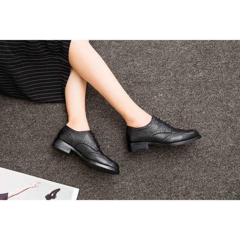 Mùa Thu Nữ Giày Oxford Vintage Mũi Tròn Đế Phẳng Mắt Cá Chân Giày Bullock Anh Giày Nữ Phong Cách Chaussure 1870W