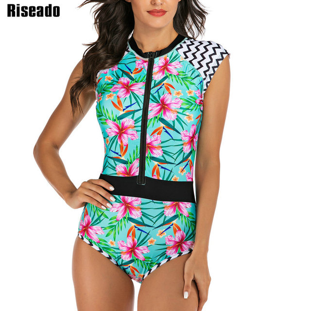 Riseado 熱帯ラッシュガードストライプ花印刷ワンピース水着女性半袖スポーツサーフィン水泳ビーチウェア