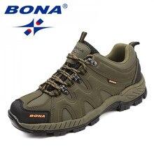 BONA 새로운 도착 클래식 스타일 남자 하이킹 신발 레이스 업 남자 스포츠 신발 야외 조깅 트레킹 스니커즈 빠른 배송