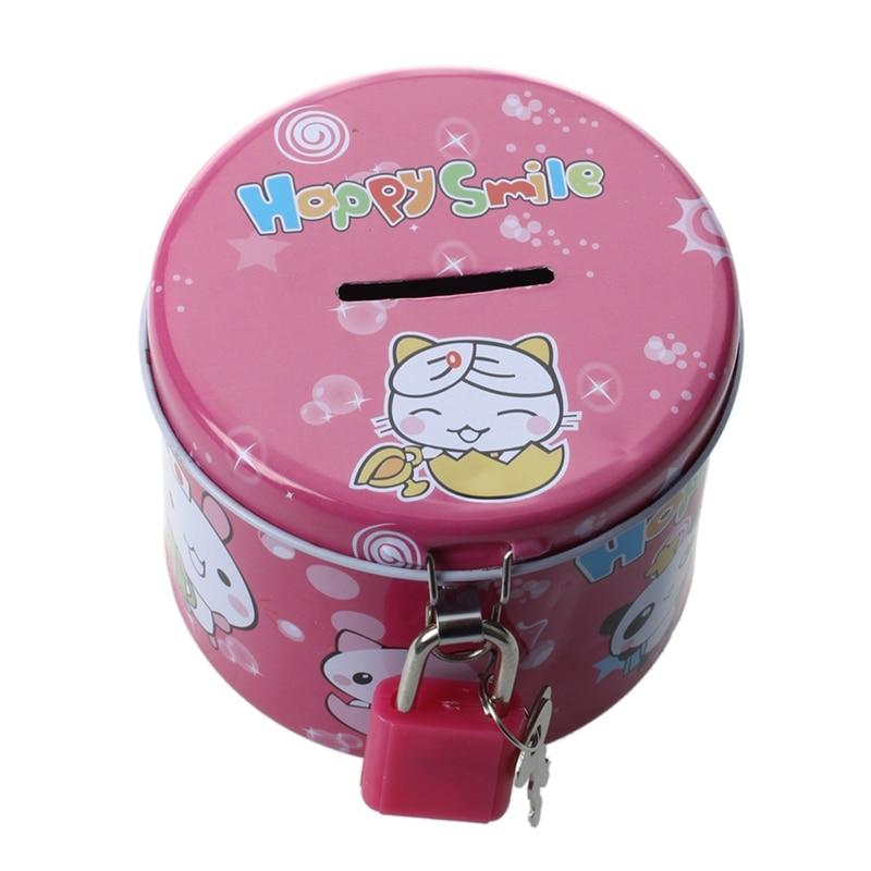 Cylinder Design Cartoon Print Piggy Bank Coin Money Saving Box w Padlock