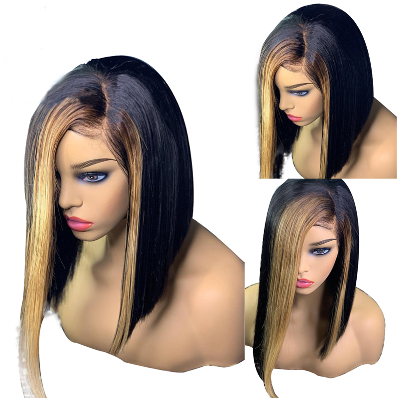 Eversilky Highlights Honey Blonde 13x4 Lace Front Wigs Pre Plucked Brazilian Straight Short Bob Wigs Remy Human Hair Wigs