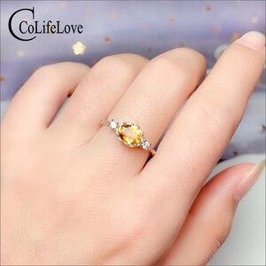Image 2 - CoLife biżuteria 925 srebrny pierścień cytrynowy na odzież na co dzień 4mm * 6mm naturalny VVS klasy cytryn pierścień moda żółty kryształ srebrny pierścień