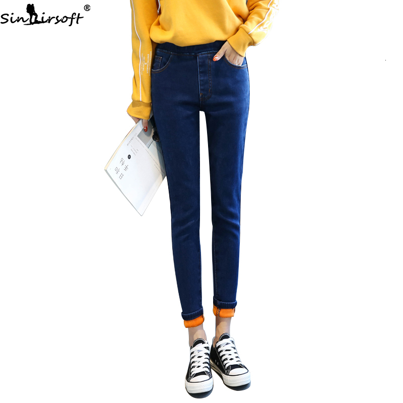 Fashion Trend Casual Wild Large Size Elastic High Waist Jeans Woman Cotton Soft Stretch Thin Feet Denim Pants Women