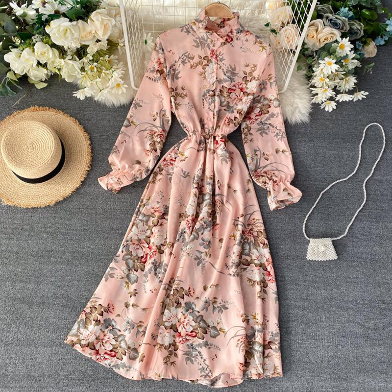 2020 Vintage Floral Print Stand Collar Chiffon Dress Spring Summer Midi Long Party Women Elastic Waist Vestido Elegant Dress