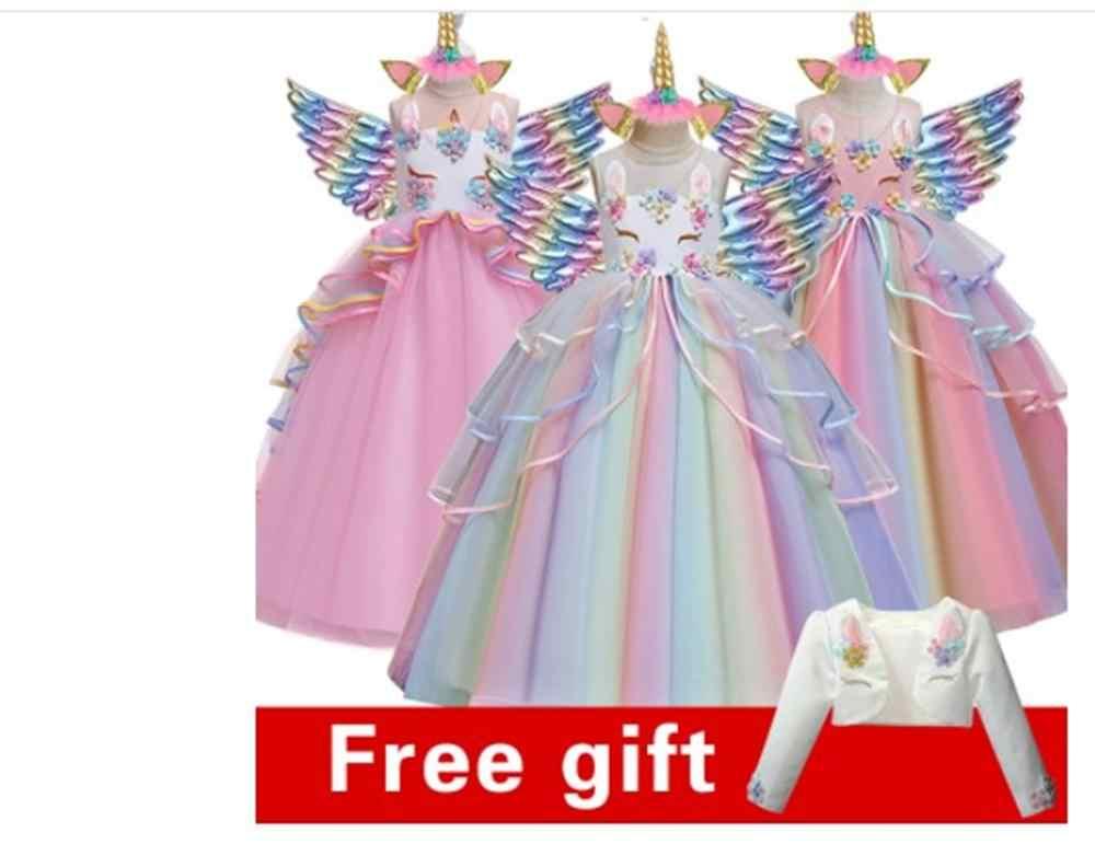 Платье для свадебной вечеринки с цветочным рисунком и единорогом для девочек; платье для вечеринки в честь Дня рождения; платье для танцев в стиле единорога