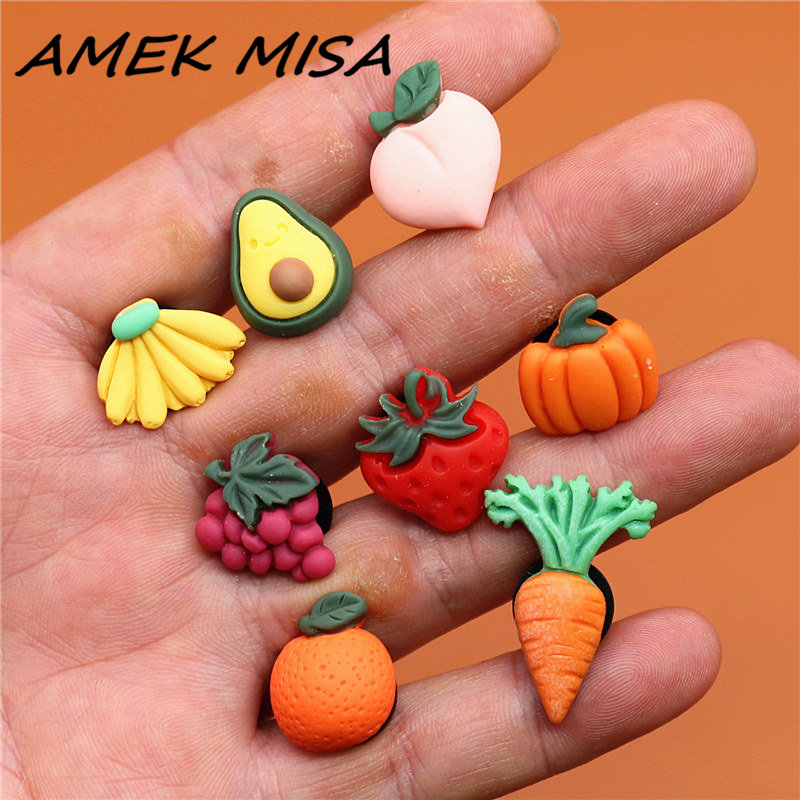 Novel Single Sale Cute Mini Shoe Charms Accessories Simulation Fruits&Vegetables Shoe Decoration Fit Croc Jibz Kid's X-mas Gifts
