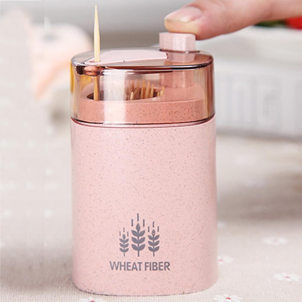 Automatic Toothpick Holder Container Wheat Straw Kitchen Toothpick Bottle Toothpick Box Container Dispenser Holder