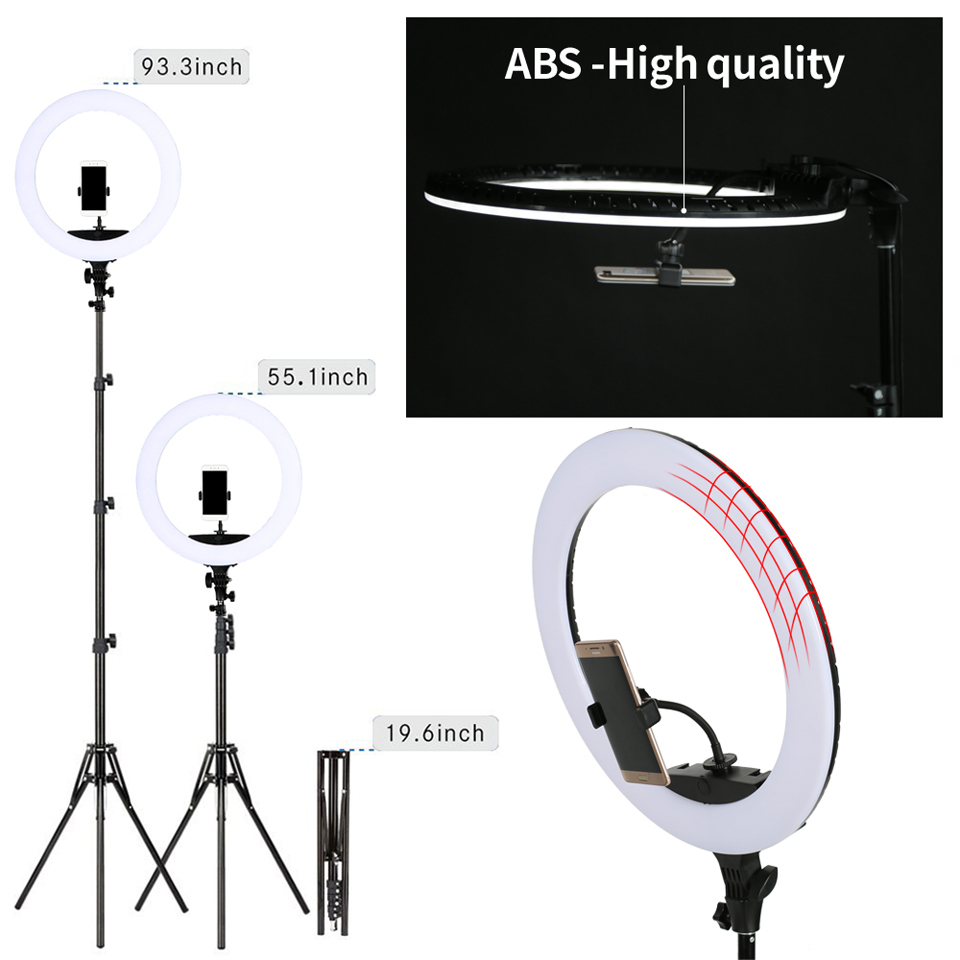H40e56b0320074f70b7938ace5a1bf132c WalkingWay 18 inch LED Ring Light with Tripod Dimmable Photographic Lighting Studio Video light for tik tok Makeup Youtube Live