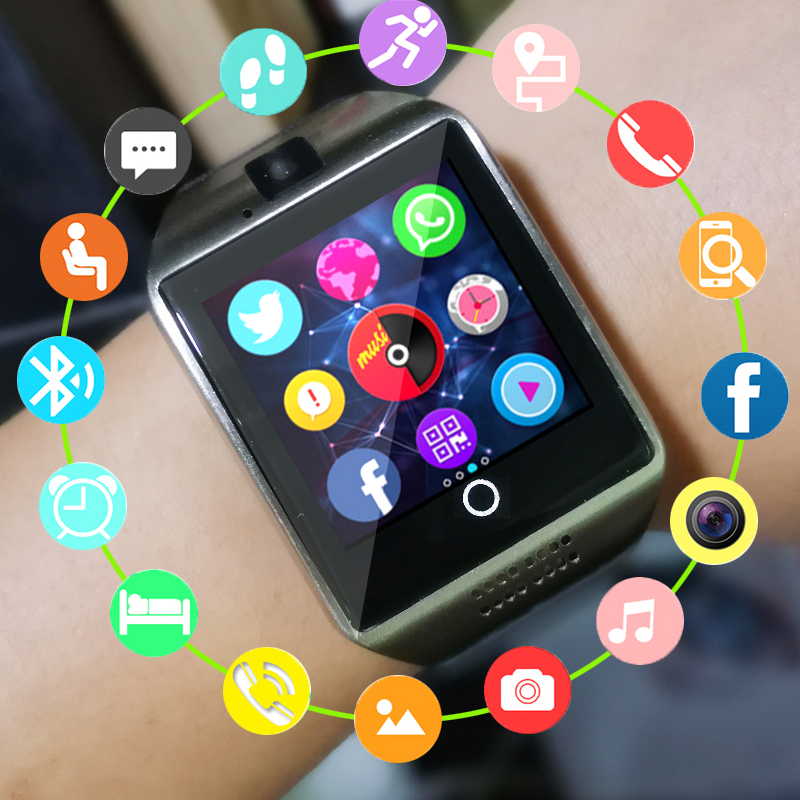 SIM Card Smart Watch Phone Q18 Bluetooth Intelligent Hours With Camera Mp3 Player Call Watches For Apple Android Wristwatch